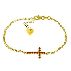 0.3 CTW 14K Solid Gold Cross Bracelet Natural Ruby