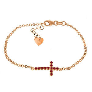 0.3 Carat 14K Solid Rose Gold Cross Bracelet Natural Ruby