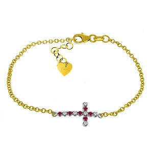 0.24 Carat 14K Solid Gold Cross Bracelet Diamond Ruby