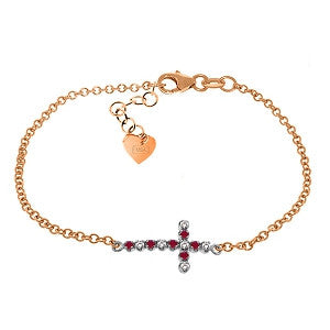 0.24 CTW 14K Solid Rose Gold Cross Bracelet Diamond Ruby