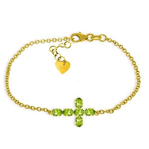 1.7 CTW 14K Solid Gold Cross Bracelet Natural Peridot