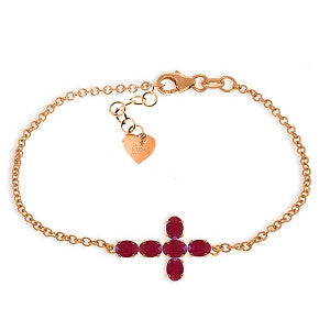 1.7 Carat 14K Solid Rose Gold Cross Bracelet Oval Ruby