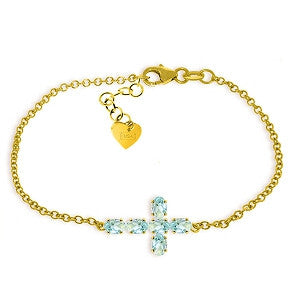 1.7 Carat 14K Solid Gold Cross Bracelet Natural Aquamarine