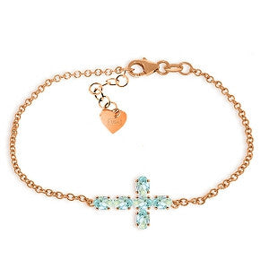 1.7 Carat 14K Solid Rose Gold Cross Bracelet Natural Aquamarine