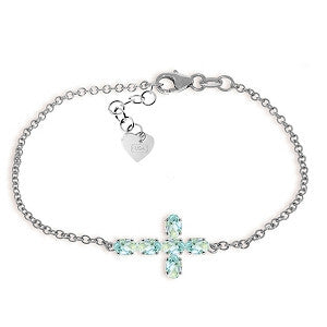 1.7 Carat 14K Solid White Gold Cross Bracelet Natural Aquamarine