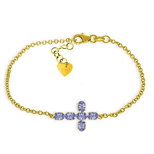 1.7 CTW 14K Solid Gold Cross Bracelet Natural Tanzanite