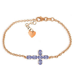 1.7 CTW 14K Solid Rose Gold Cross Bracelet Natural Tanzanite