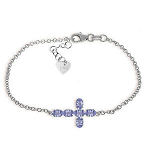 1.7 CTW 14K Solid White Gold Cross Bracelet Natural Tanzanite