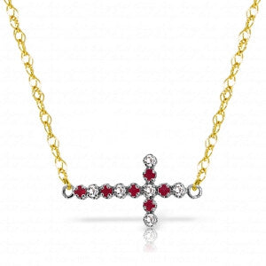 0.24 CTW 14K Solid Gold Cross Necklace Diamond Ruby