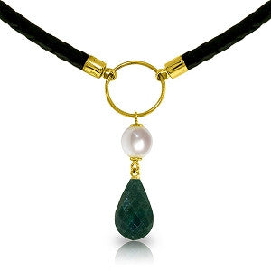 10.8 CTW 14K Solid Gold Leather Necklace Pearl Emerald