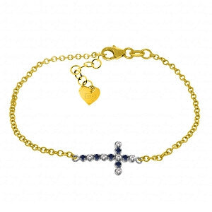 0.24 CTW 14K Solid Gold Cross Bracelet Diamond Sapphire