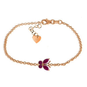 0.6 Carat 14K Solid Rose Gold Butterfly Bracelet Ruby