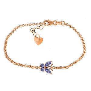 0.6 Carat 14K Solid Rose Gold Butterfly Bracelet Tanzanite