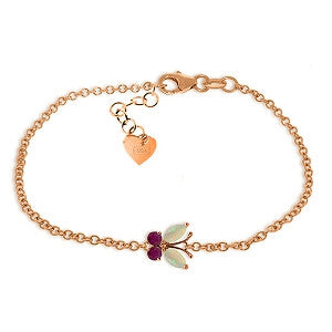 0.6 CTW 14K Solid Rose Gold Butterfly Bracelet Opal Ruby