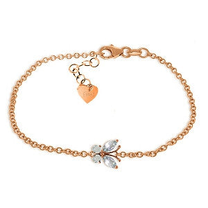0.6 Carat 14K Solid Rose Gold Butterfly Bracelet Aquamarine