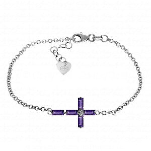 1.15 CTW 14K Solid White Gold Ave Maria Amethyst Bracelet