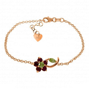 0.87 Carat 14K Solid Rose Gold Flower Bracelet Ruby Peridot