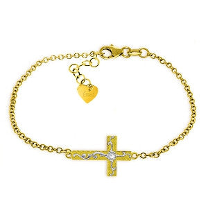 0.05 CTW 14K Solid Gold Cross Bracelet Natural Diamond