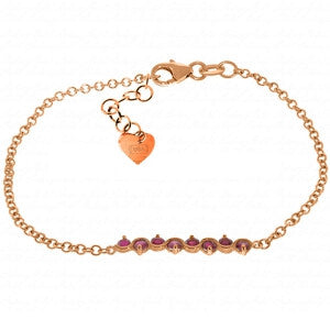 1.55 Carat 14K Solid Rose Gold Bracelet Natural Ruby