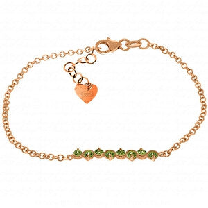 1.55 Carat 14K Solid Rose Gold Bracelet Natural Peridot