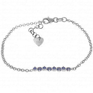 1.55 Carat 14K Solid White Gold Bracelet Natural Tanzanite