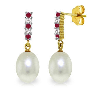 8.3 Carat 14K Solid Gold Diamond Ruby Earrings Dangling Briolette Pearl