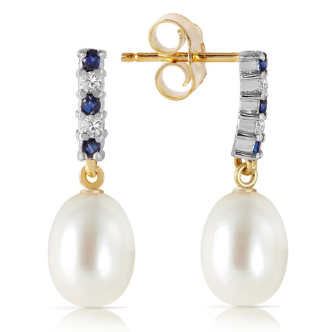 8.3 CTW 14K Solid Gold Diamond Sapphire Earrings Dangling Briolet