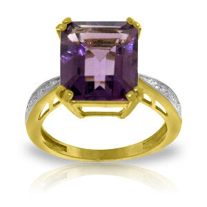 5.62 CTW 14K Solid Gold Ring Natural Diamond Amethyst