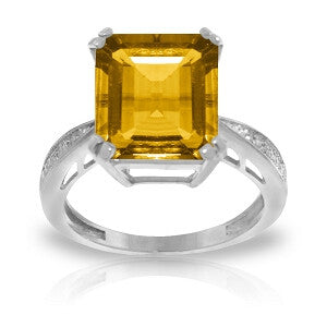 5.62 Carat 14K Solid White Gold Ring Natural Diamond Citrine