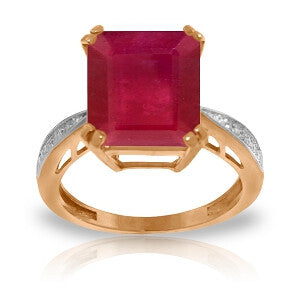7.27 Carat 14K Solid Rose Gold Ring Natural Diamond Ruby