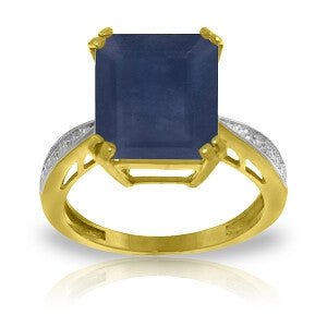 7.27 Carat 14K Solid Gold Ring Natural Diamond Sapphire