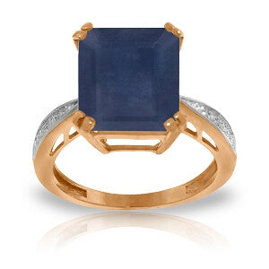7.27 Carat 14K Solid Rose Gold Ring Natural Diamond Sapphire