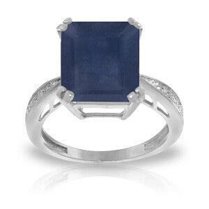 7.27 CTW 14K Solid White Gold Ring Natural Diamond Sapphire