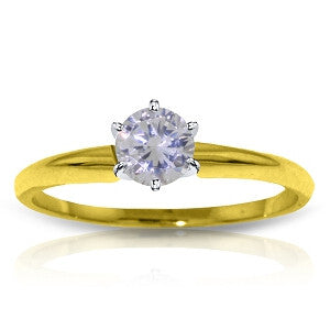 14K Solid Gold Solitaire Ring w/ 0.35 Carat H-i, Si-2 Natural Diamond
