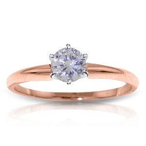 14K Solid Rose Gold Solitaire Ring w/ 0.35 Carat H-i, Si-2 Natural Diamond