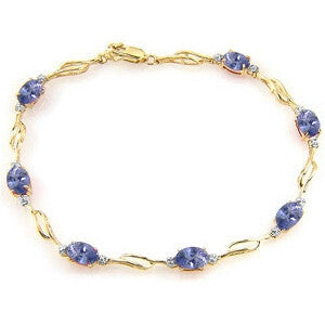 14K Solid Gold Tennis Bracelet w/ Tanzanite & Diamonds