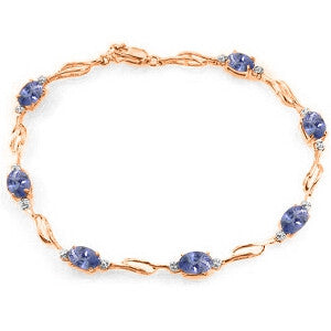 14K Solid Rose Gold Tennis Bracelet w/ Tanzanite & Diamonds