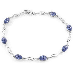 14K Solid White Gold Tennis Bracelet w/ Tanzanite & Diamonds