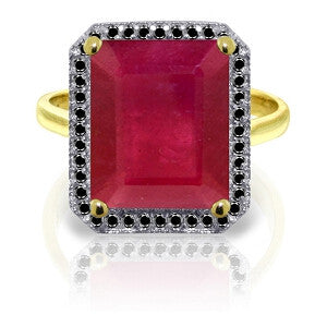14K Solid Gold Ring w/ Natural Black Diamonds & Ruby