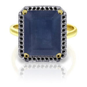 14K Solid Gold Ring w/ Natural Black Diamonds & Sapphire