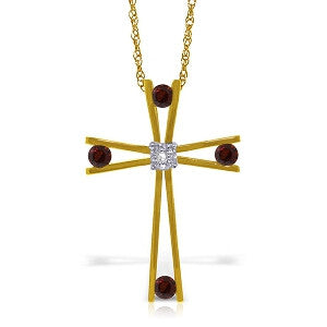 14K Solid Gold Cross Necklace w/ Natural Diamond & Garnets
