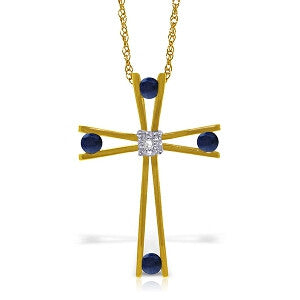 14K Solid Gold Cross Necklace w/ Natural Diamond & Sapphires