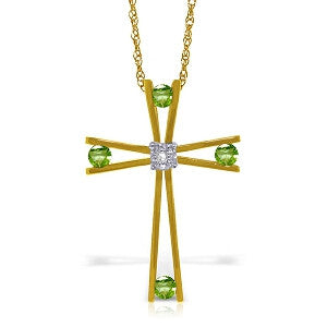 14K Solid Gold Cross Necklace w/ Natural Diamond & Peridots