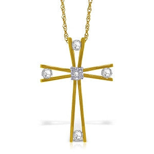 14K Solid Gold Cross Necklace w/ Natural 0.45 Carat Diamonds