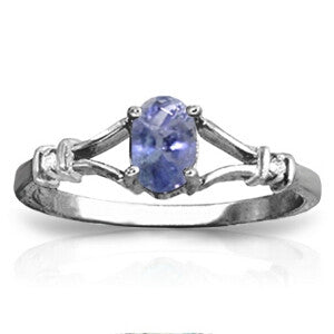 14K Solid White Gold Ring w/ Natural Diamonds & Tanzanite