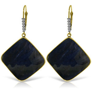 14K Solid Gold Diamonds Leverback Earrings w/ Checkerboard Cut Sapphires