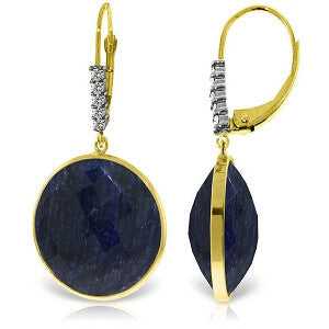 14K Solid Gold Diamonds Leverback Earrings w/ Checkerboard Cut Round Dyed Sapphires