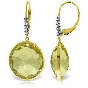 14K Solid Gold Diamonds Leverback Earrings w/ Checkerboard Cut Lemon Quartz