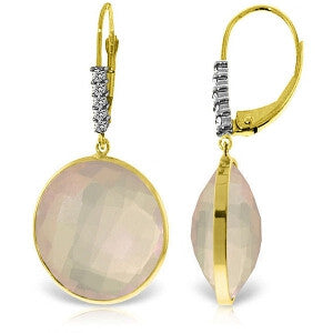 14K Solid Gold Diamonds Leverback Earrings w/ Checkerboard Cut Rose Quartz