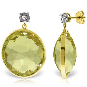 14K Solid Gold Diamonds Stud Earrings w/ Dangling Checkerboard Cut Lemon Quartz